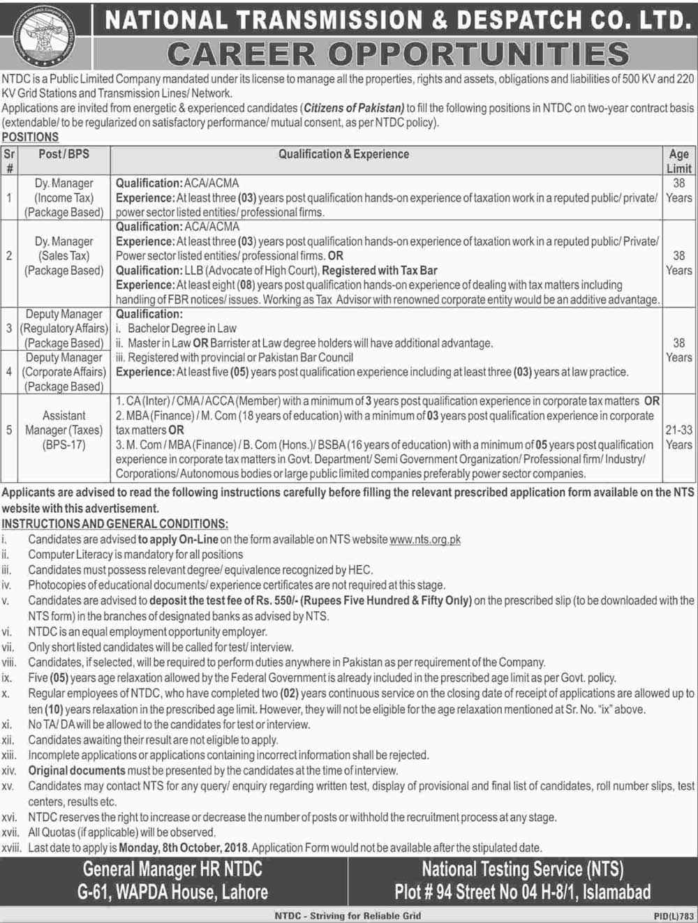 NTDC National Transmission Dispatch Company BPS 17 18 Jobs Via NTS