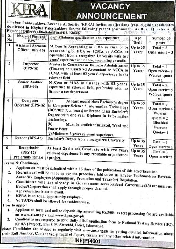 KPK Revenue Authority KPRA BPS 12 BPS 16 Jobs Via NTS