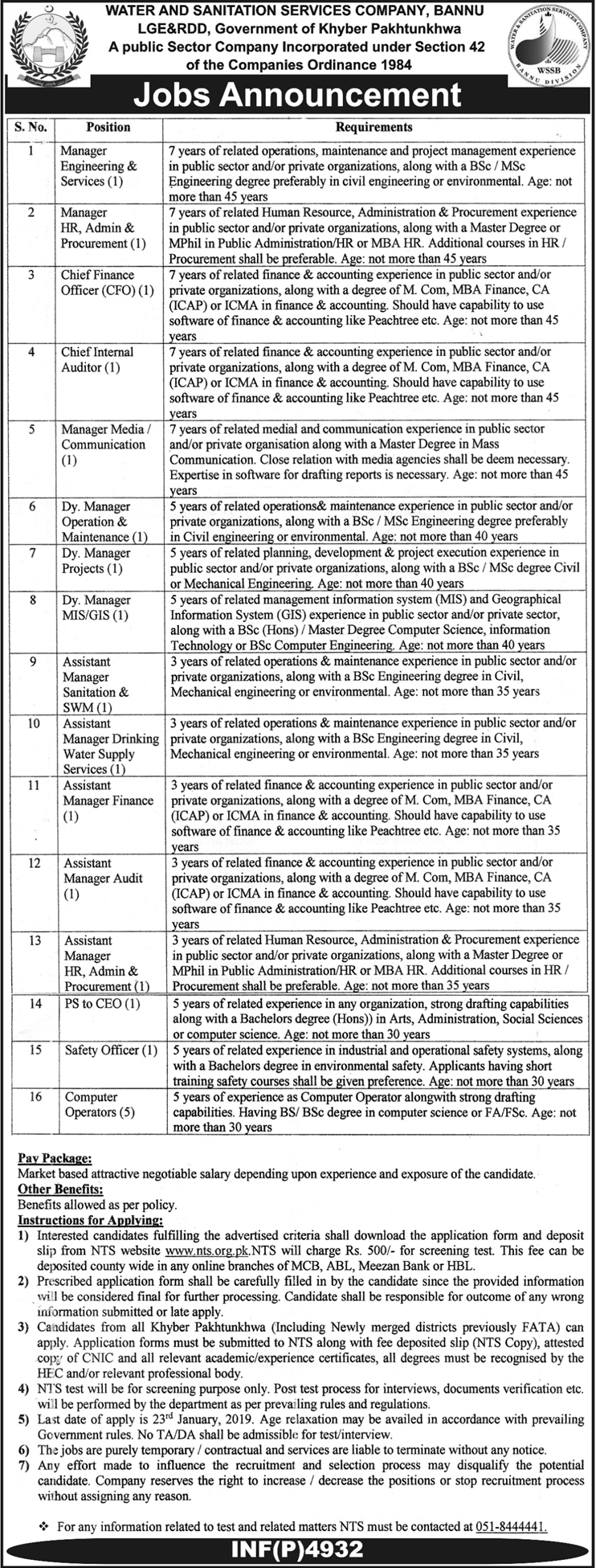 WSSCA Water and Sanitation Services Company  Bannu Jobs Via NTS