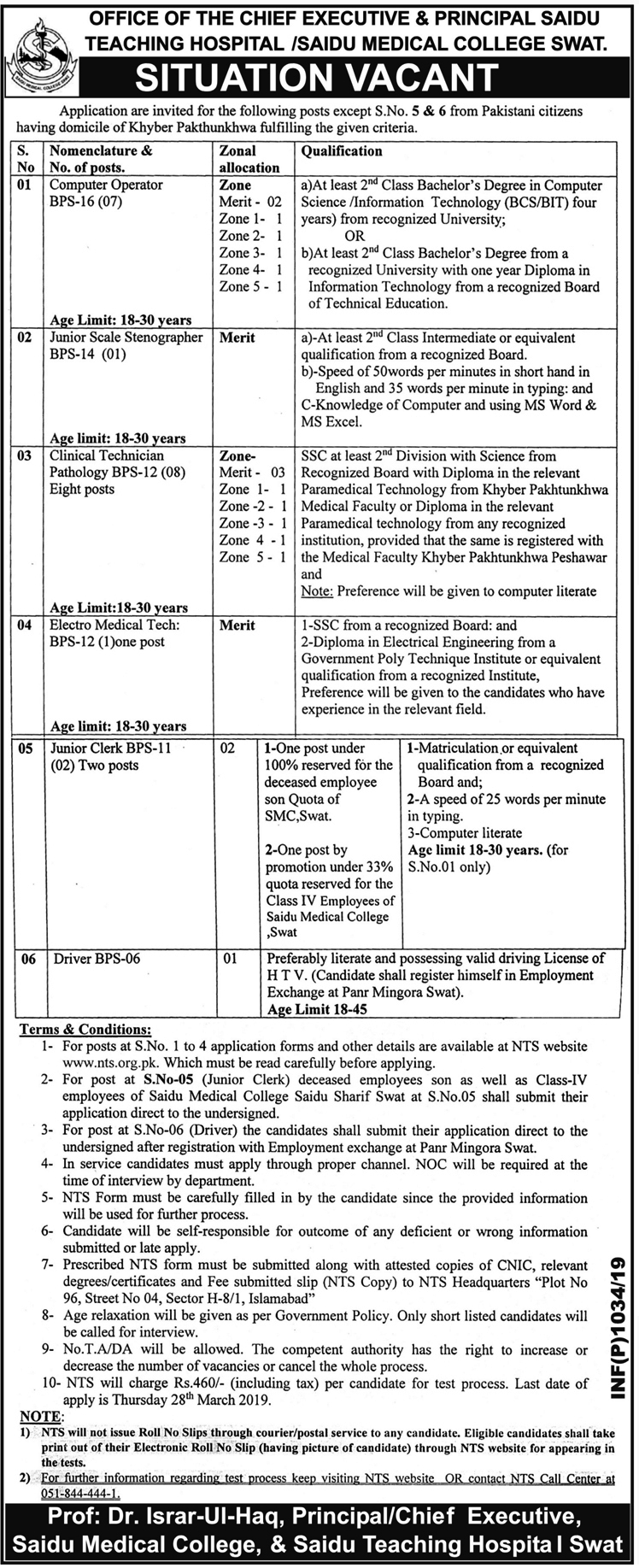 SMC Saidu Teaching Medical College Saidu Sharif Swat Jobs Via NTS