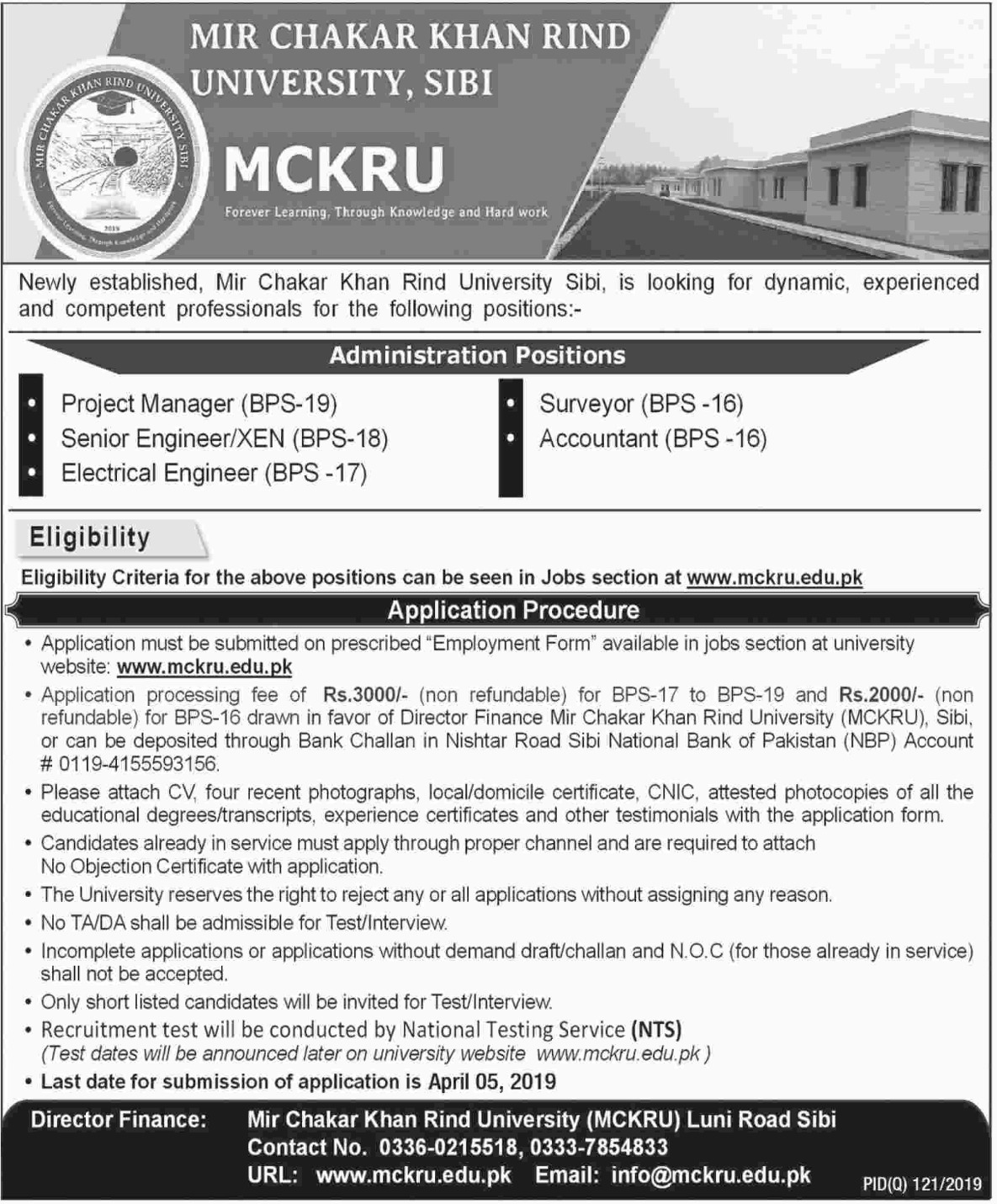 Mir Chakar Khan Rind University MCKRU Sibi Jobs NTS Test Answer Keys Result