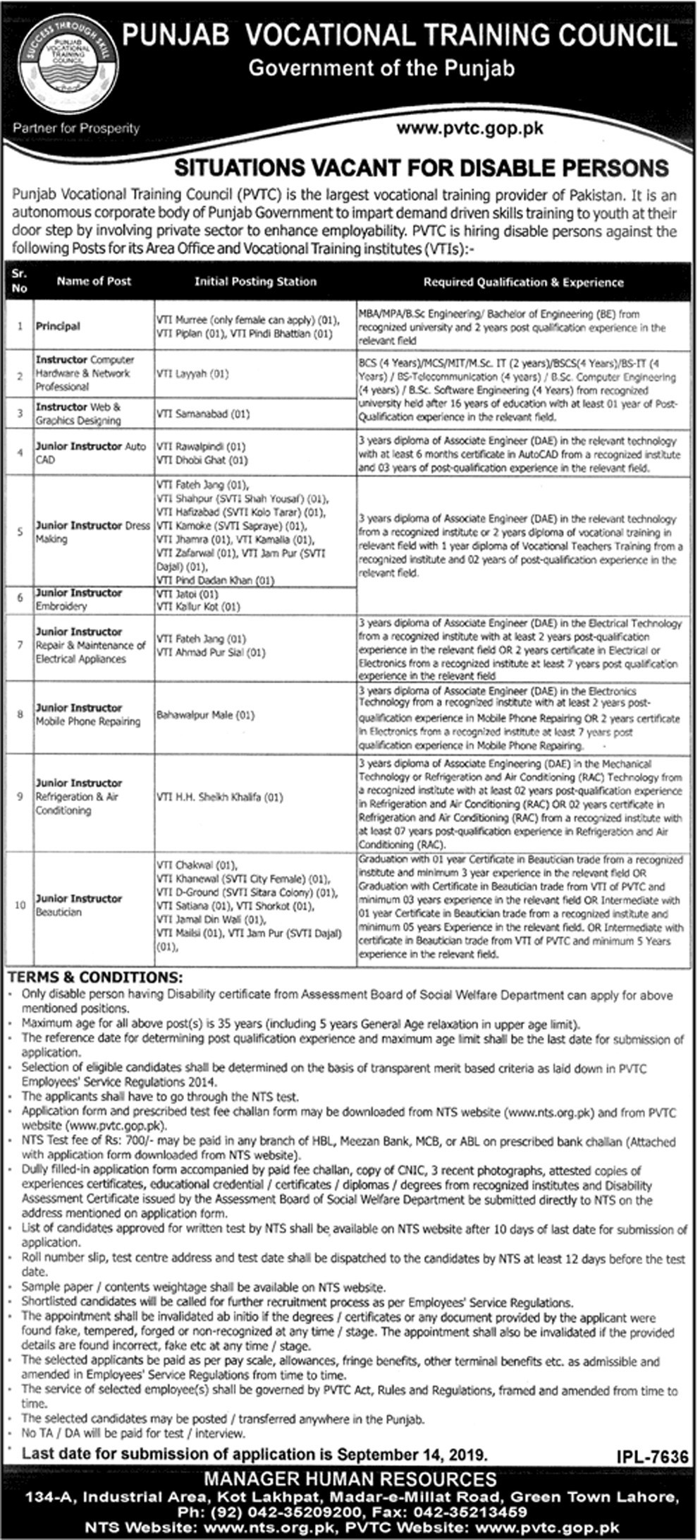 Punjab Vocational Training Council PVTC Jobs Disabled Person NTS Test Roll No Slip