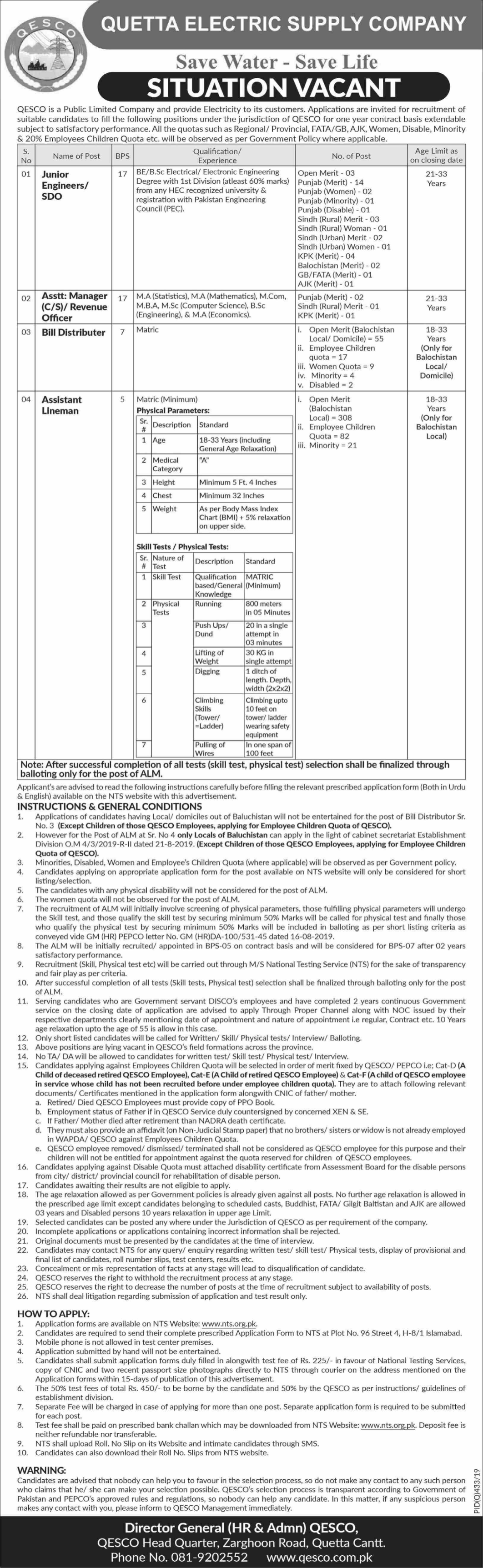 QESCO Jobs Quetta electric supply company Via NTS