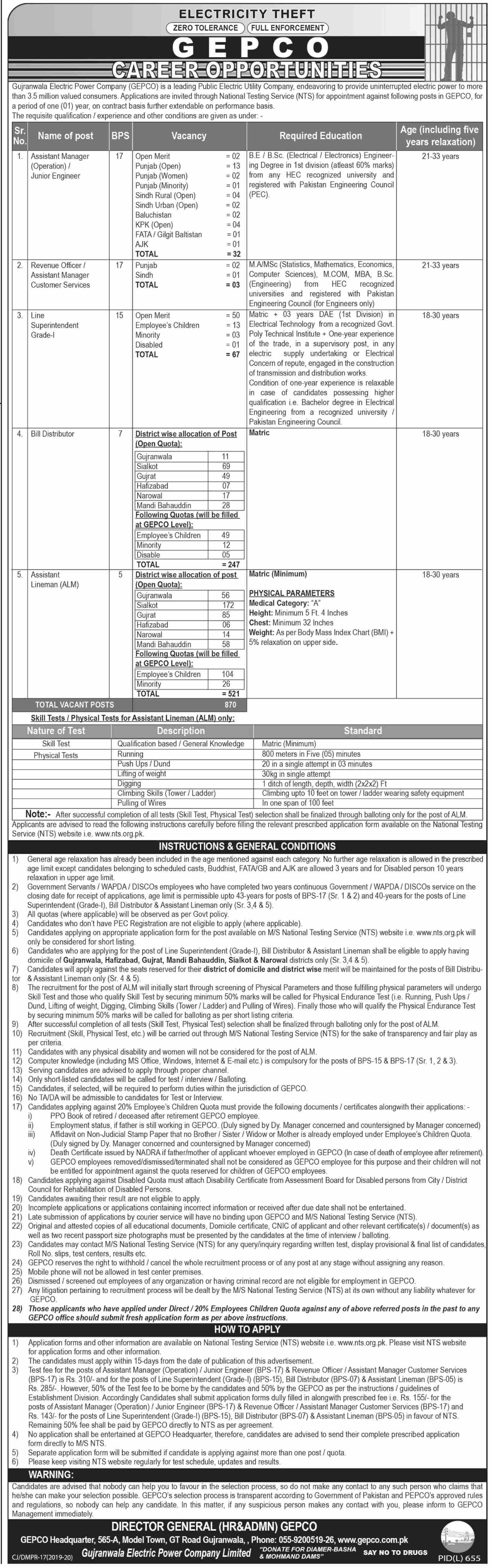 GEPCO Jobs NTS Test Answer Keys Results Gujranwala Electric Power Company
