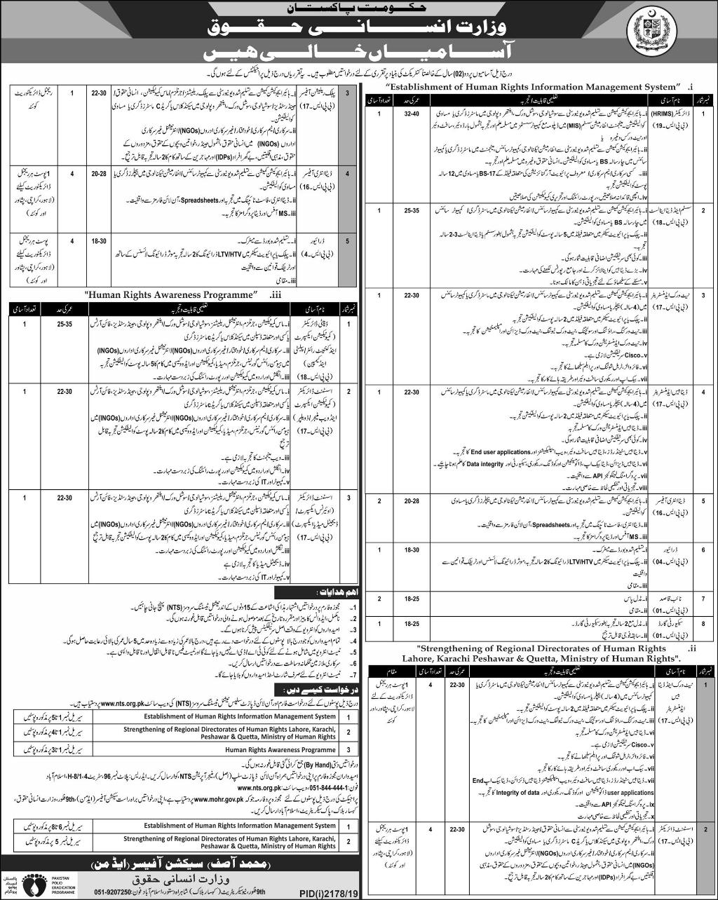 Ministry of Human Rights MOHR Jobs Via NTS Online Apply