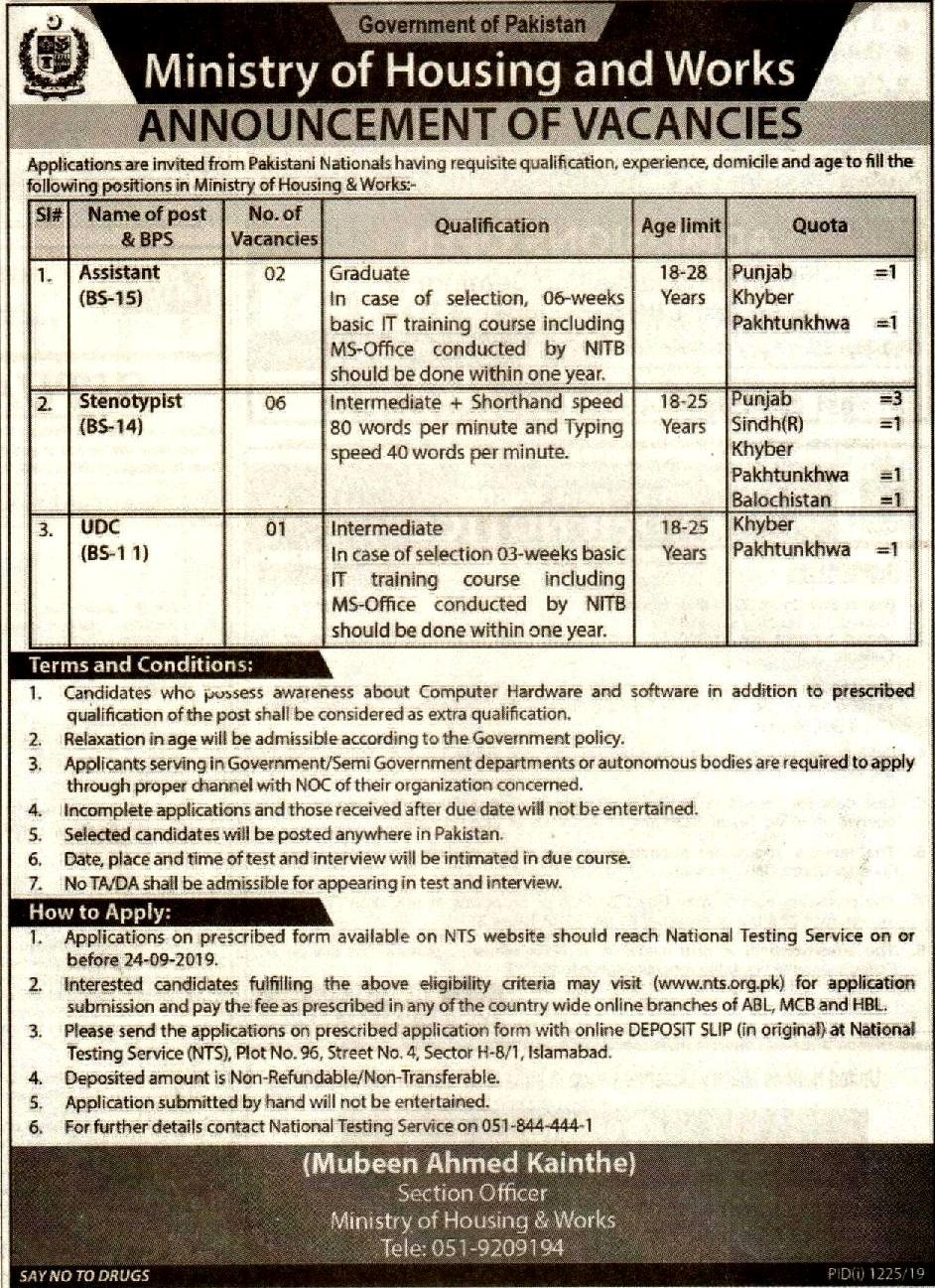 MOHW Ministry of Housing Works Jobs NTS Written Test Answer Keys Result