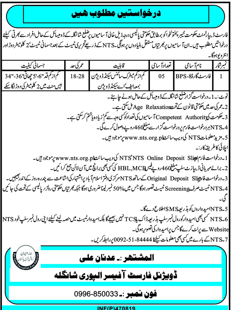 Forest Division Alpuri Shangla Jobs NTS Test Roll Number Slip
