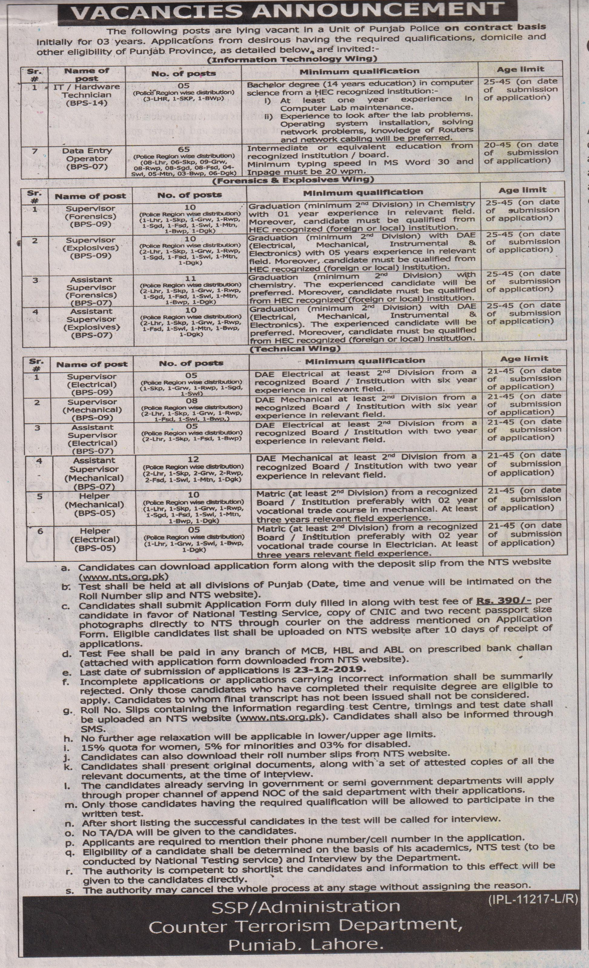 Counter Terrorism Department CTD Punjab Police Jobs NTS Test Roll No Slip