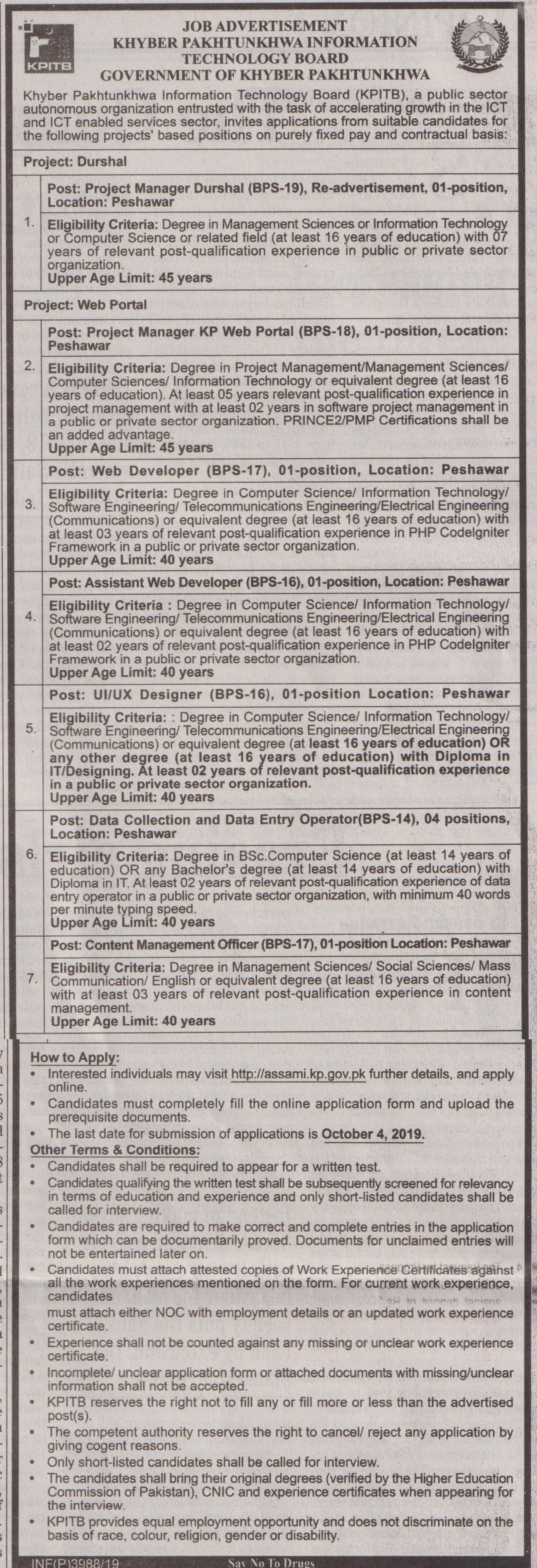 KPK KPITB Jobs NTS Test Answer Keys Result Information Technology Board