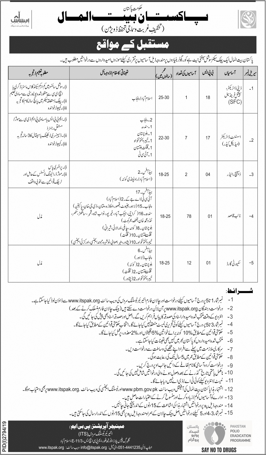 PBM Pakistan BaitulMal Jobs ITSPAK Test Roll Number Slip
