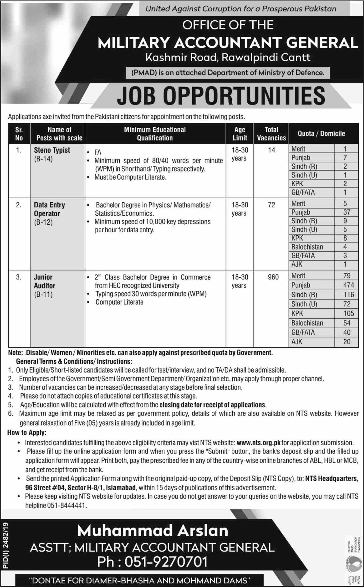 PMAD Jobs NTS Skill Test Roll No Slip Military Accountant General Office