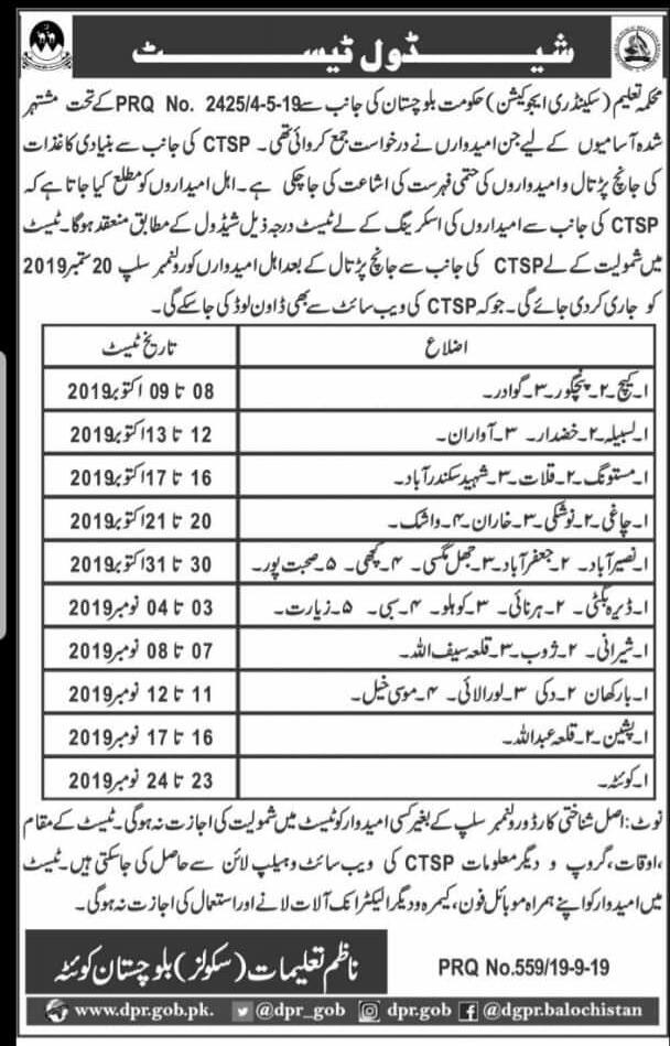 Government of Baluchistan Secondary Education Department Jobs CTSP Test Result