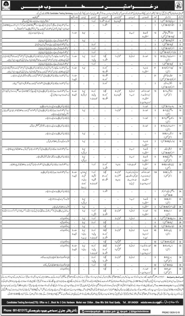 Balochistan Social Welfare Department CTS Test Roll No Slip