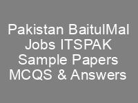 Pakistan BaitulMal Jobs ITSPAK Written Test Syllabus Sample Papers