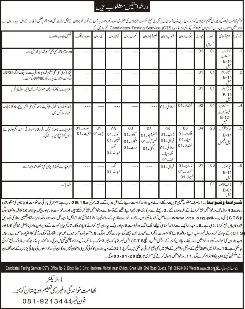 Literacy and Non formal Education Jobs CTS Roll No Slip