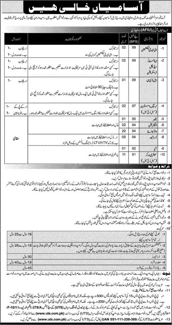 Armed Forces Institute of Urology Rawalpindi AFIU Jobs UTS Roll No Slip