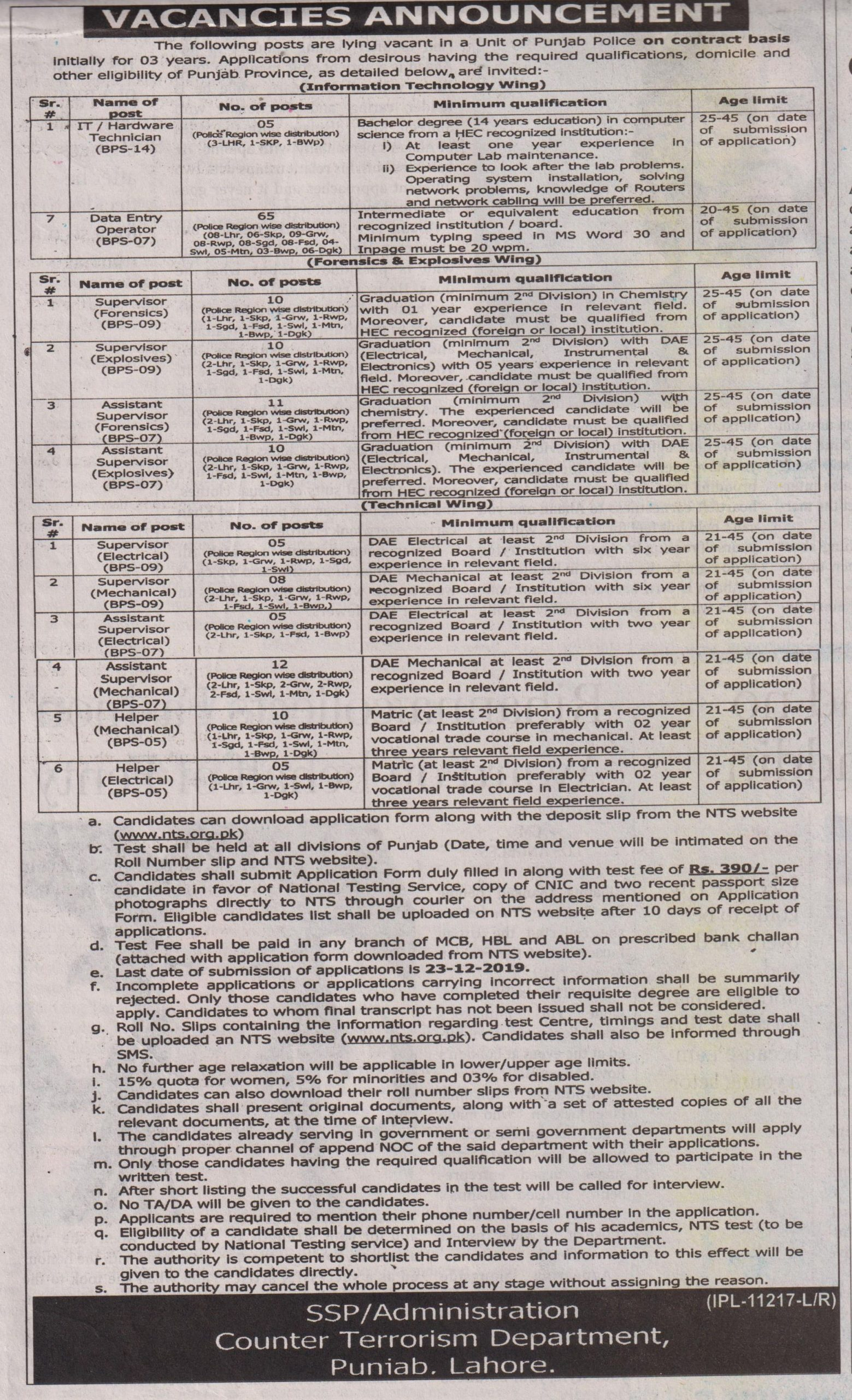 Counter Terrorism Department CTD Punjab Police Jobs NTS Test Results