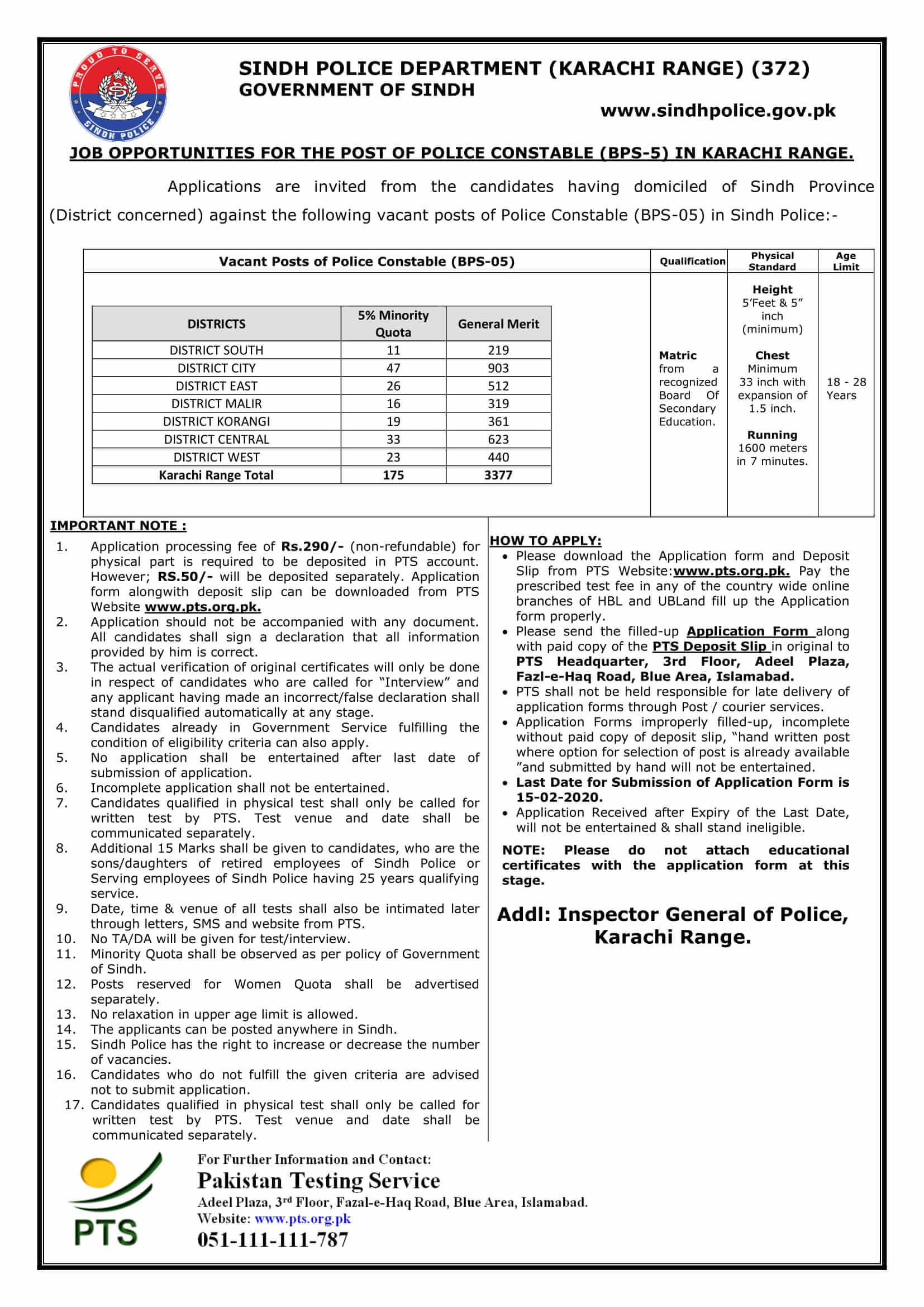 Sindh Police Department Karachi Region Jobs PTS Roll No Slip