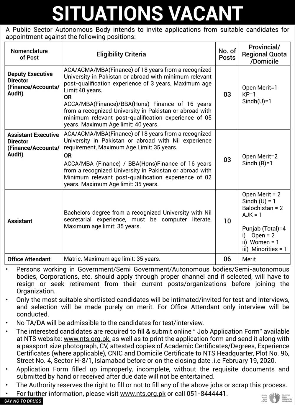Public Sector Organization Jobs NTS Roll Number Slip