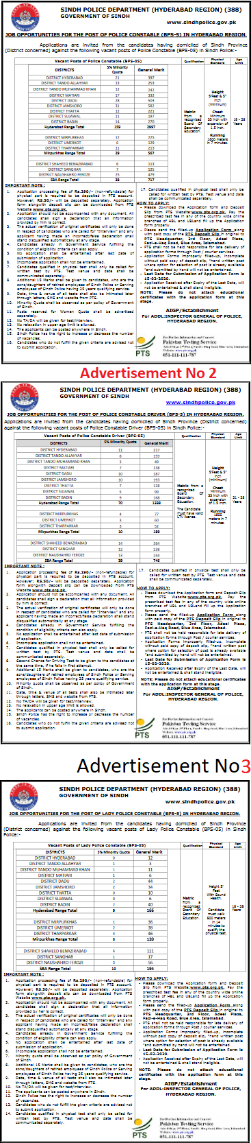 Sindh Police Department Hyderabad Region Jobs PTS Roll No Slip