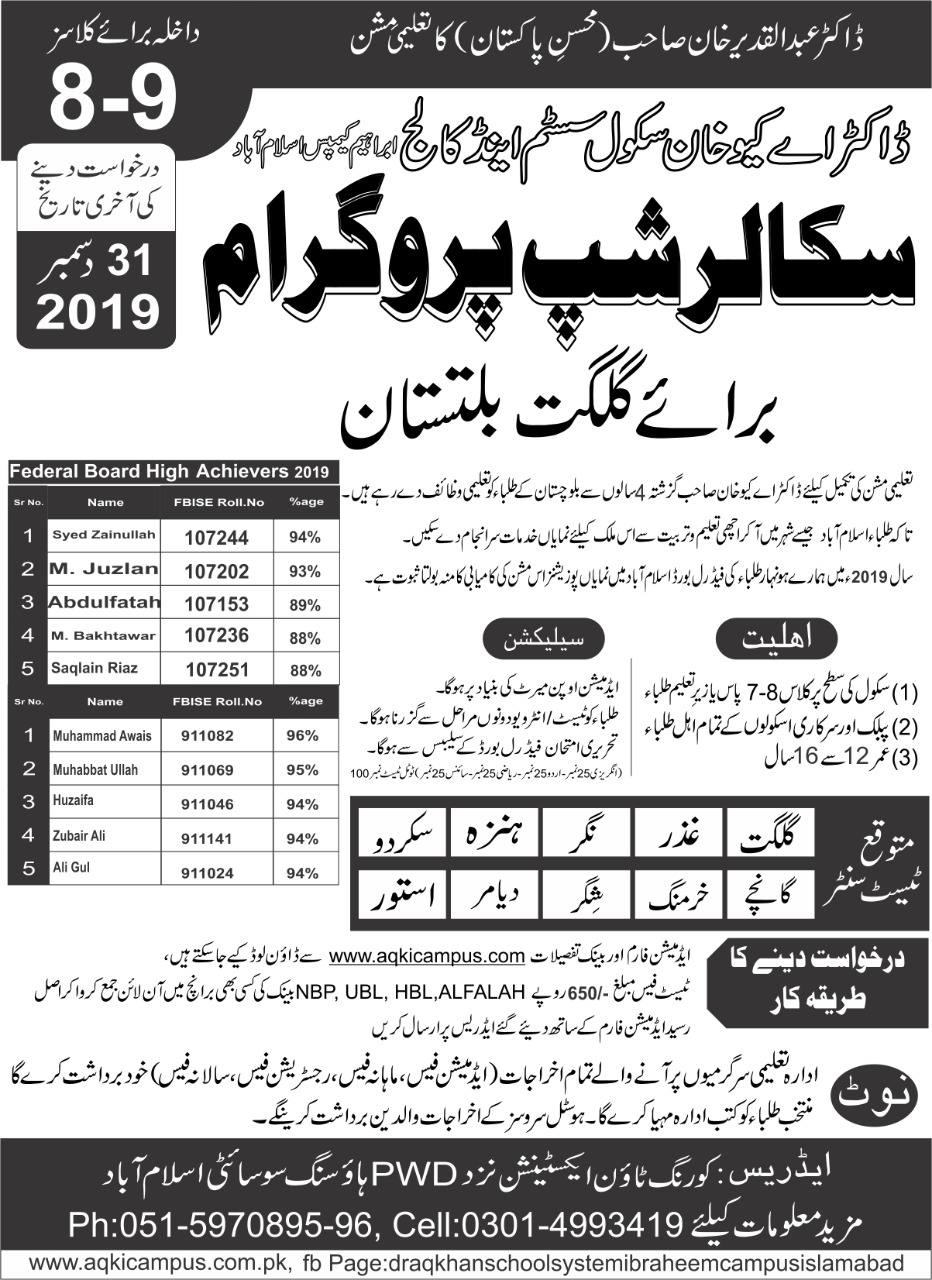 Dr A Q Khan School College Class 8th 9th Scholarships CTSP Result