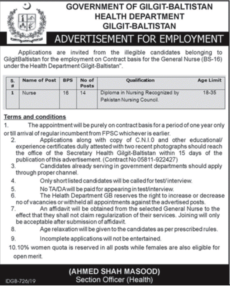 Health Department Gilgit Baltistan Jobs CTSP Test Results