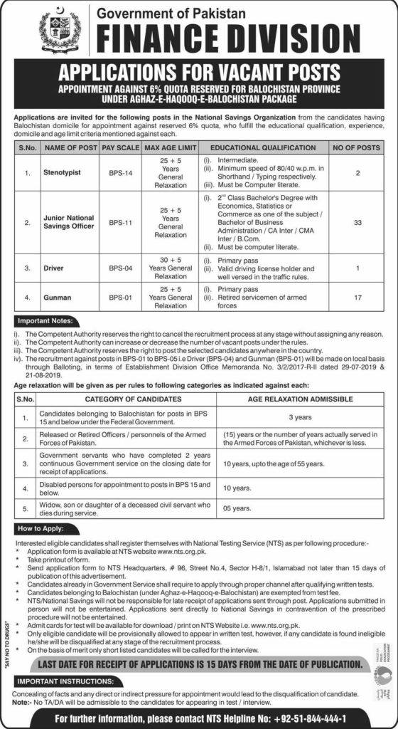 National Savings Jobs NTS Test Roll No Slip