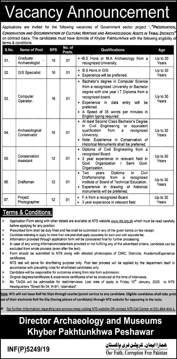 KPK Directorate of Archaeology Museums Jobs NTS Test Results