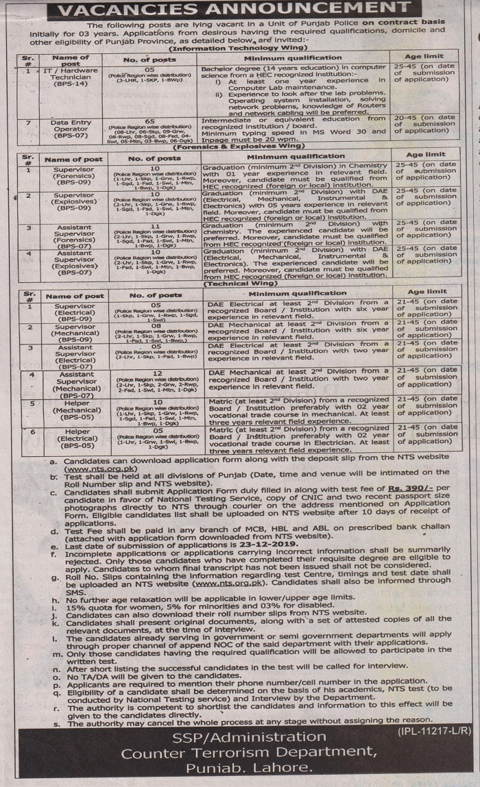 Counter Terrorism Department CTD DEO Jobs NTS Answer Keys Result