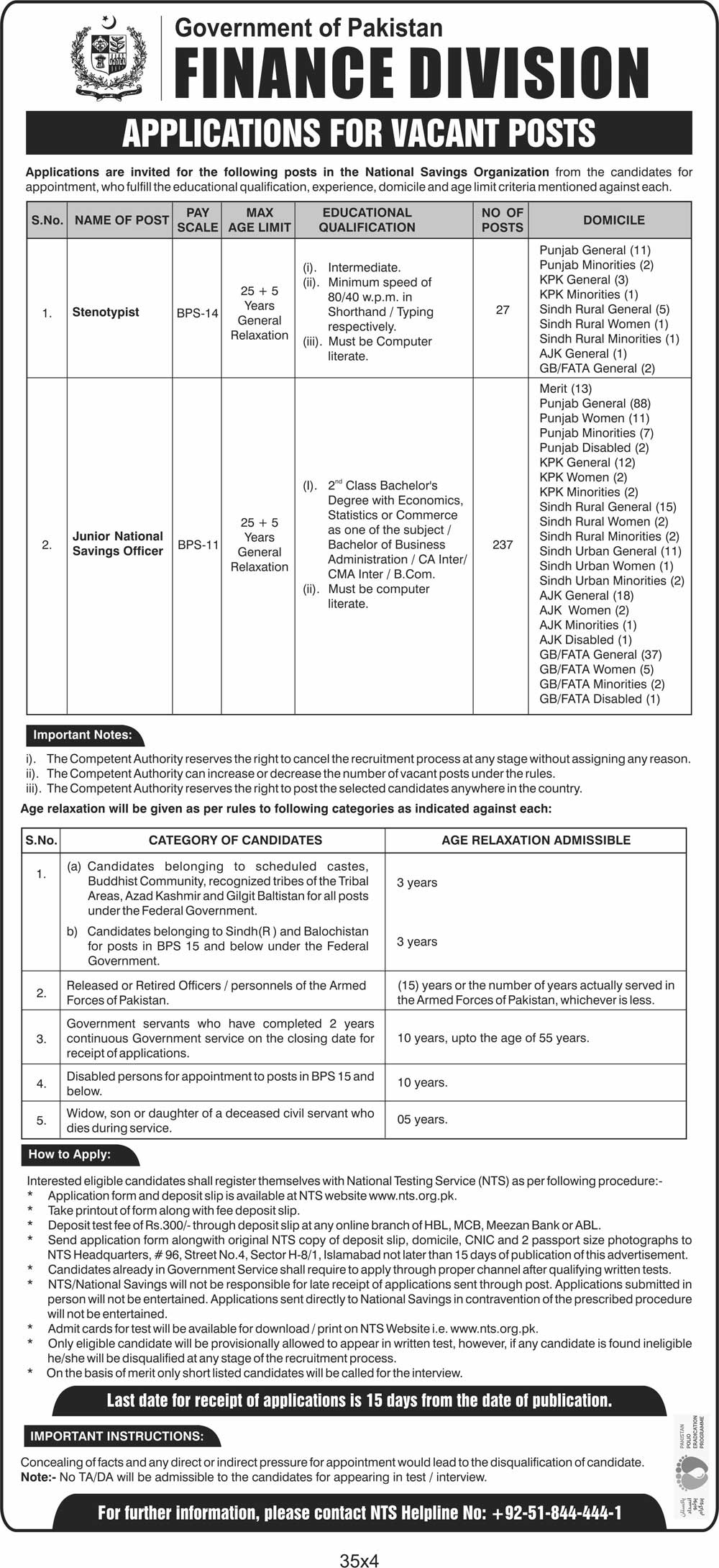 Finance Division National Savings Jobs NTS Answer Keys Results