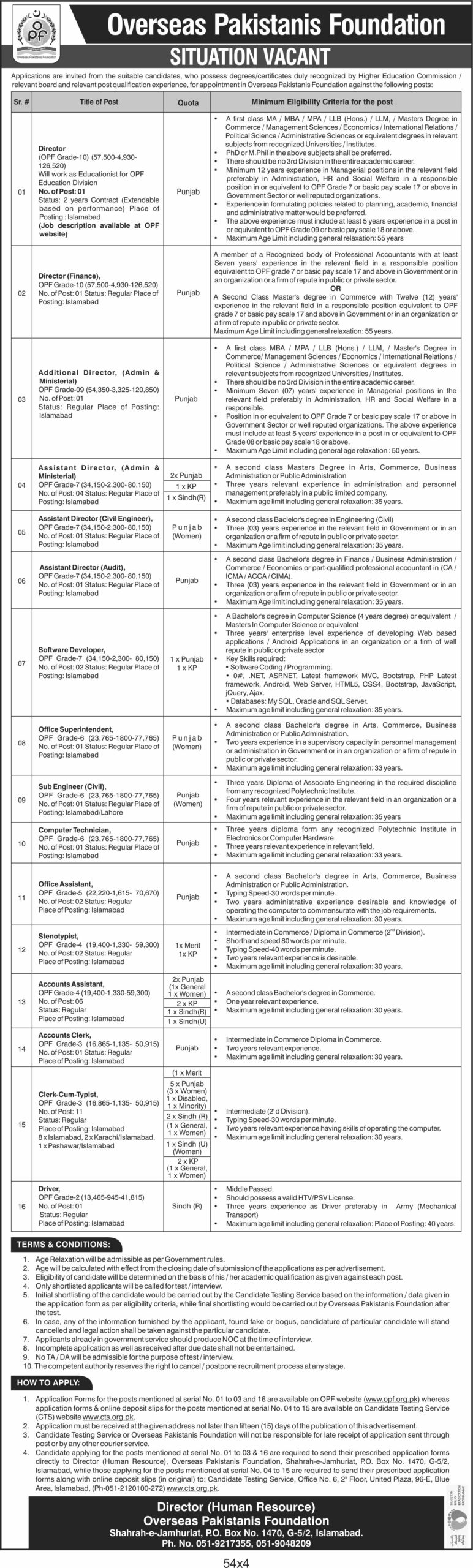 OPF Overseas Pakistanis Foundation Jobs CTS Roll No Slip