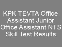 KPK TEVTA Junior Office Assistant Office Assistant NTS Skill Test Result