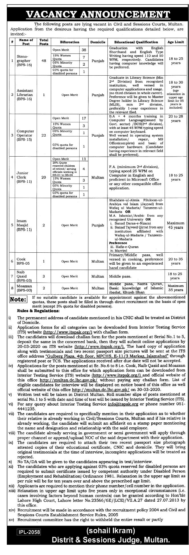 District Session Courts Multan Jobs ITSPAK Roll Number Slip