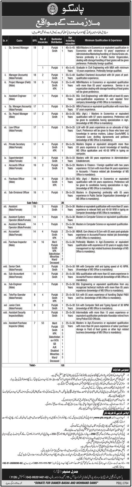 Pakistan Agricultural Storage Services PASSCO Jobs PTS Roll No Slip