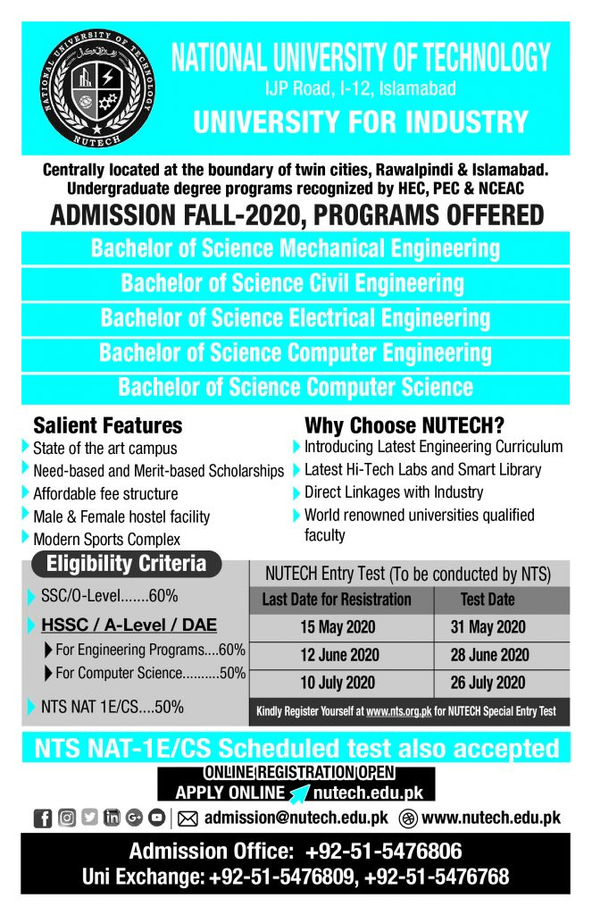 NUTECH National University of Technology Admission NTS Roll Number Slip