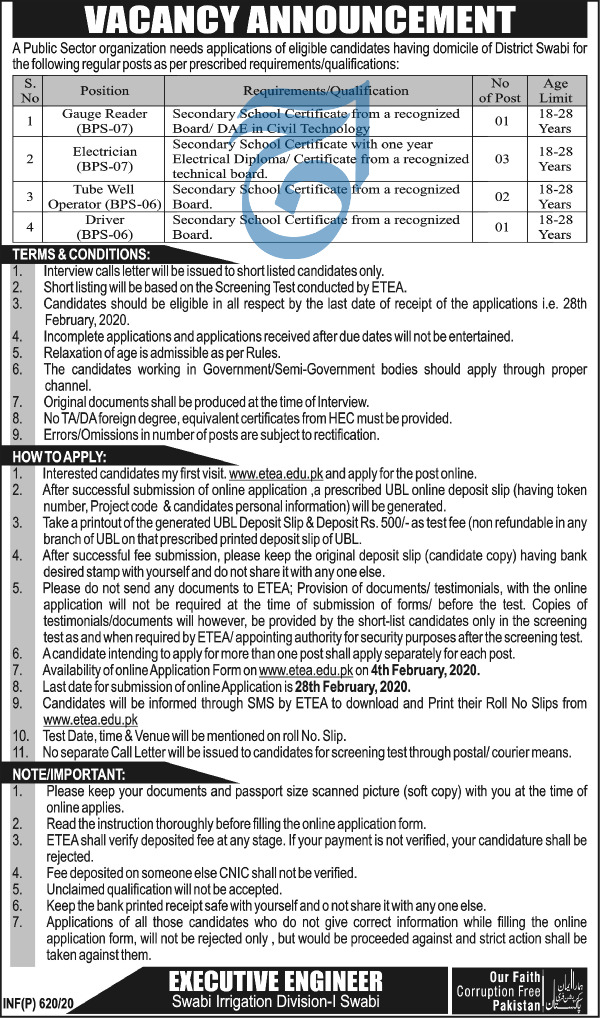 Public Sector Irrigation Department Jobs ETEA Roll No Slip