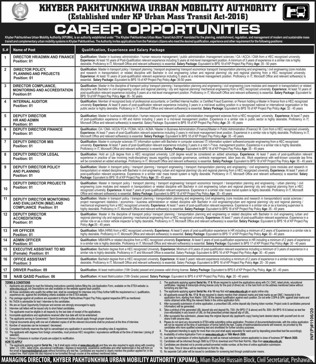 KPUMA KPK Urban Mobility Authority Jobs ETEA Roll No Slips