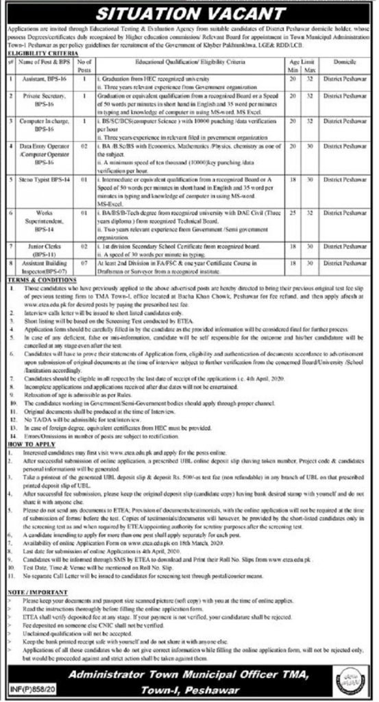 TMA Peshawar Town Municipal Administration Jobs ETEA Roll No Slips