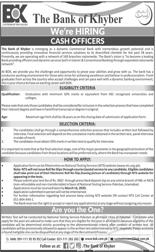 Bok Bank of Khyber MTO Cash Officers Jobs NTS Result