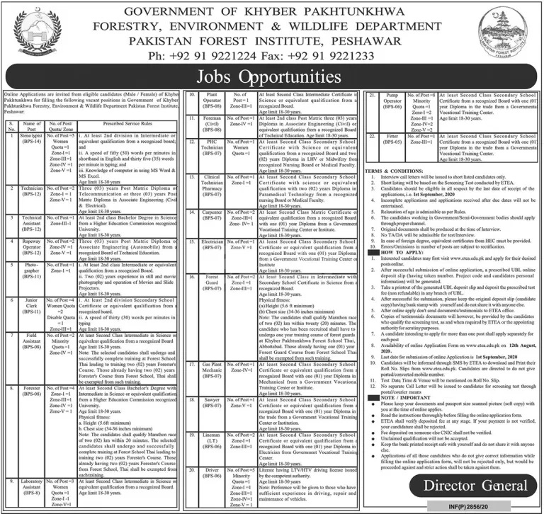 Forestry Environment Wildlife Department Jobs ETEA Roll No Slips