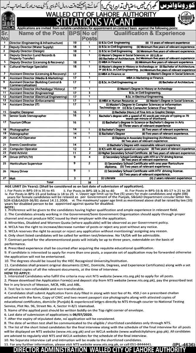 WCLA Walled City of Lahore Authority Jobs NTS Answer Keys Results