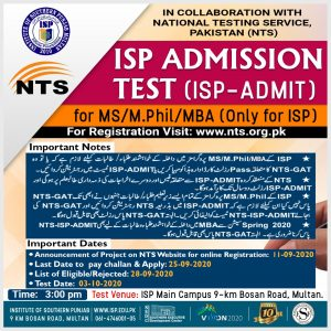 ISP Institute of Southern Punjab MS MPhil MBA Admissions NTS Results