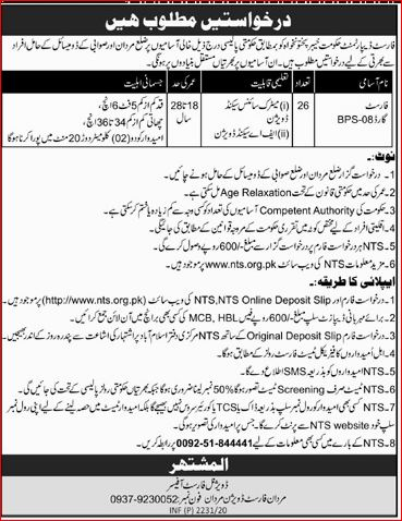 Mardan Forest Division Forest Guard Jobs NTS Answer Keys Result