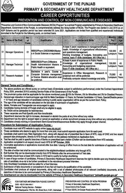 PSHD Primary Secondary Health Care Department Jobs NTS Roll No Slip