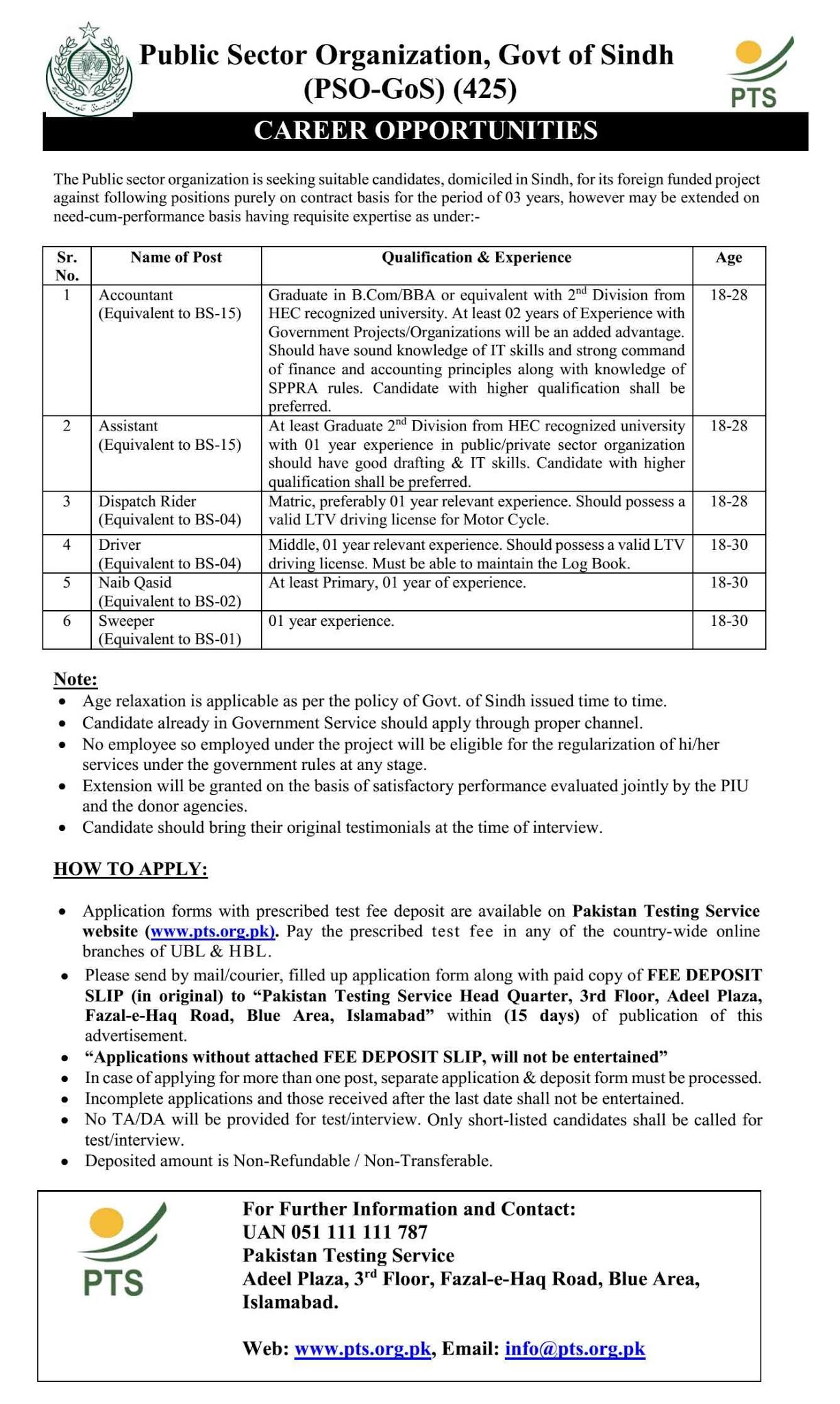 Public Sector Organization Govt of Sindh Jobs PTS Roll No Slip