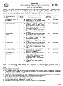 WAPDA Mega Hydel Projects Jobs PTS Roll Number Slip