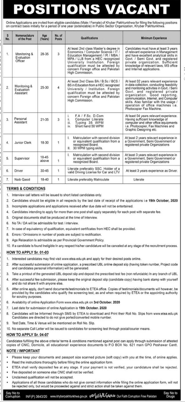 Public Sector Organization KPK Jobs ETEA Roll Number Slip