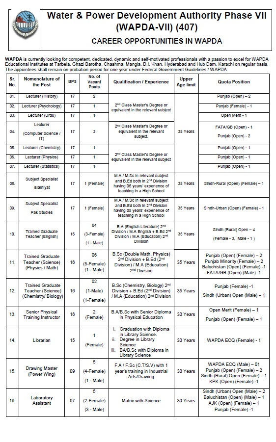 Water Power Development Authority Wapda Jobs PTS Result Phase 7