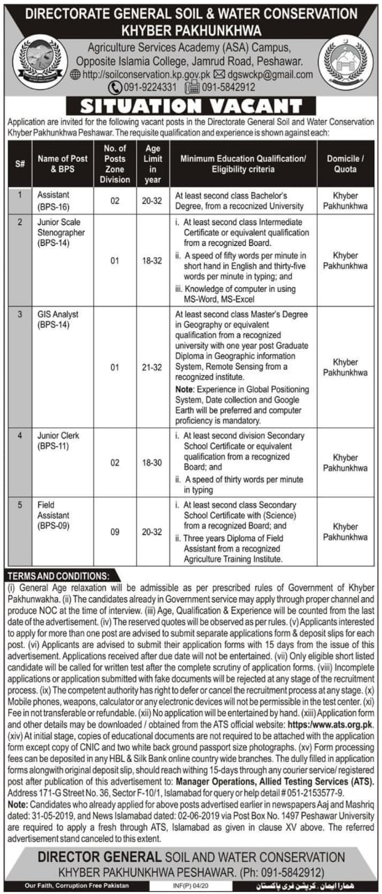 Directorate General Soil Water Conservation KPK Jobs ATS Test Result
