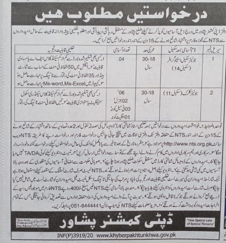 Deputy Commissioner Peshawar Jobs NTS Test Roll No Slip
